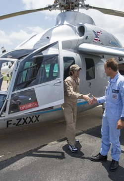 Dario Franchitti and the Eurocopter X3.