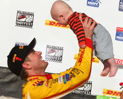 Ryan and Ryden celebrate in Victory Circle