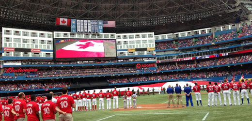 Celebrating Canada Day at Rogers Stadium