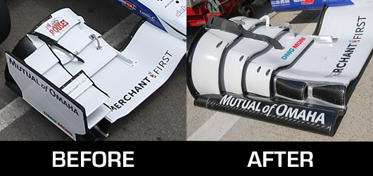 Before and after picture of the Honda front wings