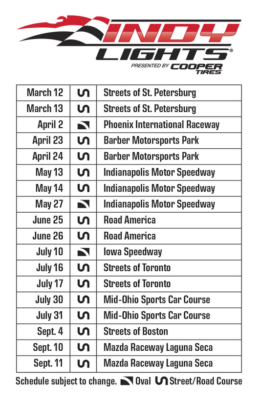 Indy Lights 2016 Schedule