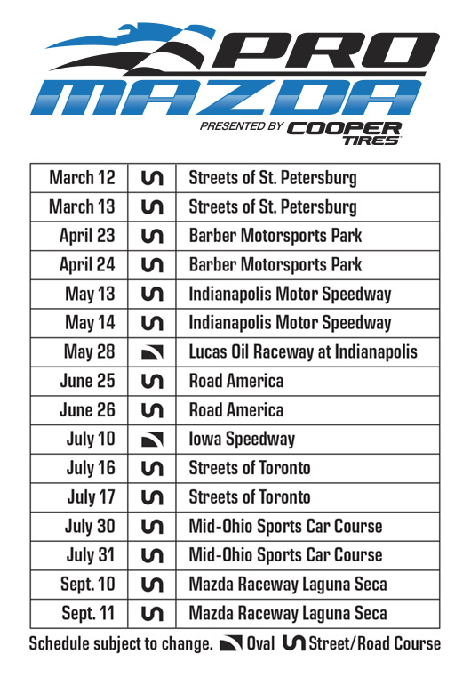 Pro Mazda 2016 Schedule