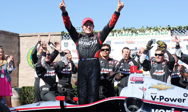 Ryan Briscoe Celebrates Win at Sonoma