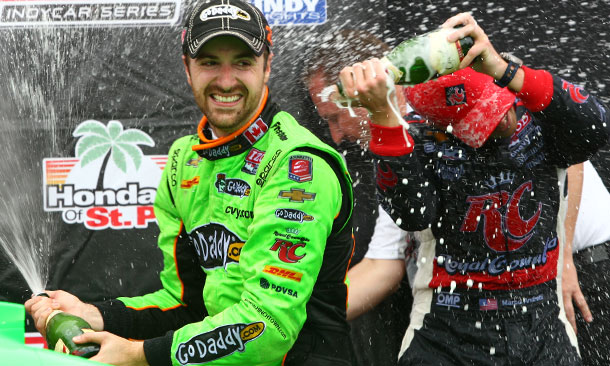 Hinchcliffe and Andretti spray the champagne