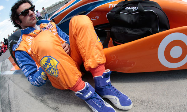 Dario Franchitti relaxing at Barber Motorsports Park