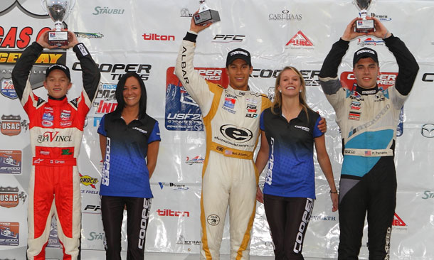 USF2000 Podium from Lucas Oil Raceway Park