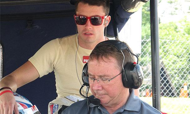 James Davison in pit stall