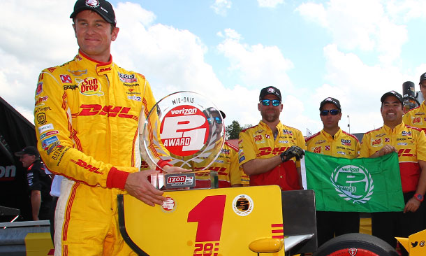 Ryan Hunter-Reay wins the Verizon P1 Award at the Mid-Ohio Sports Car Course