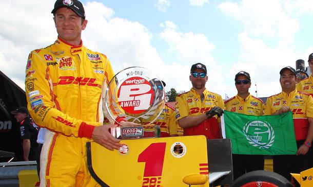 Ryan Hunter-Reay wins the Verizon P1 Award at the Mid-Ohio Sports Car Course