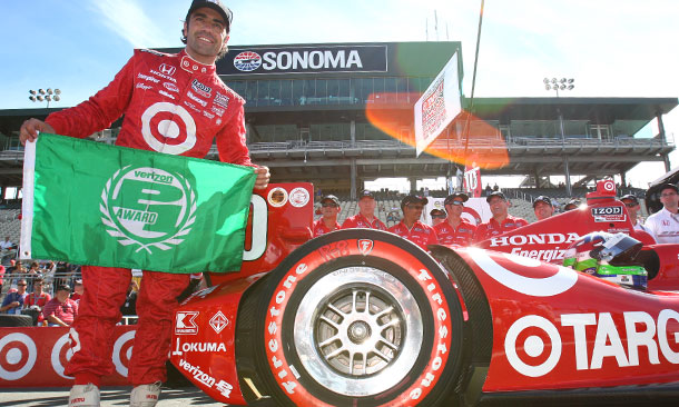 Dario Franchitti wins the Verizon P1 Award for winning the pole position at Sonoma Raceway