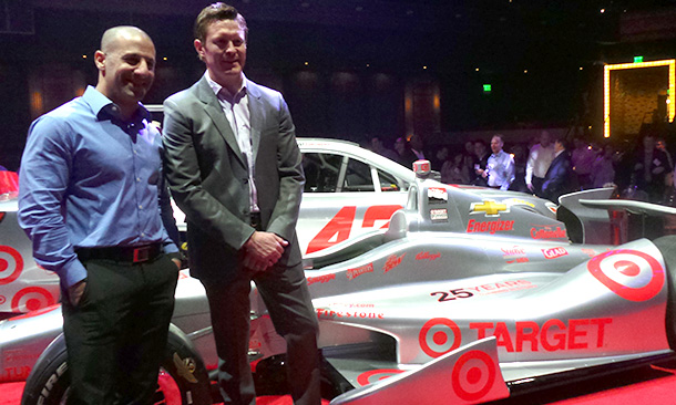 Tony Kanaan and Scott Dixon with 25th Year Silver Car