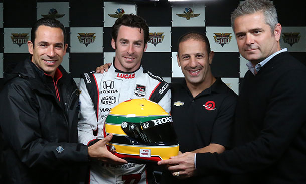 Helio Castroneves, Simon Pagenaud, Tony Kanaan, and Gil de Ferran