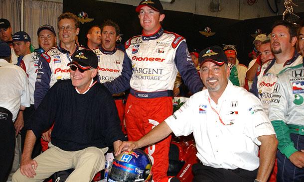 Buddy Rice celebrates in 2004