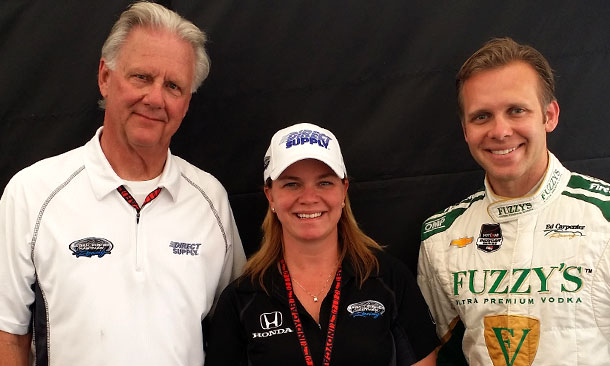 Wink Hartman, Sarah Fisher, and Ed Carpenter