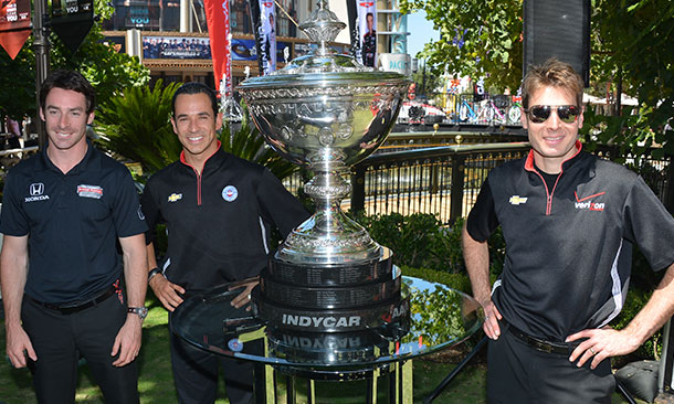 Simon Pagenaud, Helio Castroneves, and Will Power