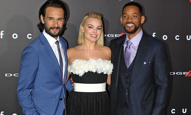 Rodrigo Santoro, Margot Robbie, and Will Smith