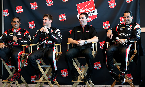 Juan Pablo Montoya, Will Power, Simon Pagenaud, and Helio Castroneves