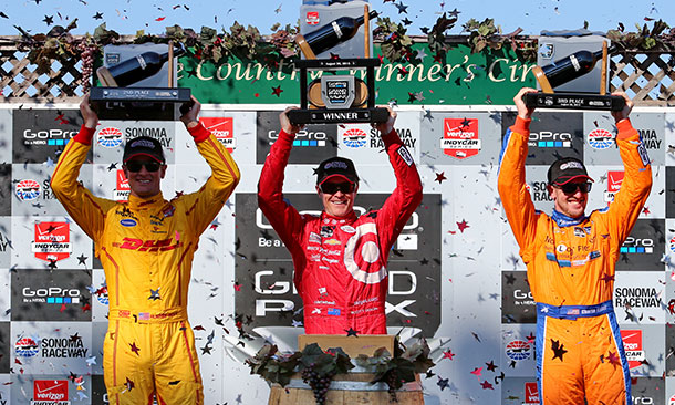 Scott Dixon, Ryan Hunter-Reay, and Charlie Kimball